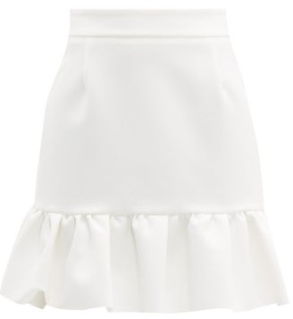 MSGM Ruffled-hem Crepe Mini Skirt - Womens - White
