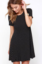 Lush Ferry Ride Black Striped Swing Dress
