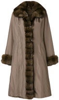 Liska fur contrast trim coat