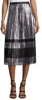 KENDALL + KYLIE Metallic Pleated A-Line Midi Skirt, Silver