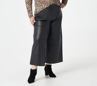 Isaac Mizrahi Live! Petite Faux Leather Culotte Pants