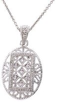 CZ Collections Filigree Oval Sterling Silver Pendant Bridesmaid Jewelry [Jewelry]