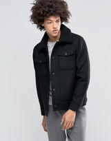 Weekday Son Wool Bomber Jacket Fleece Collar