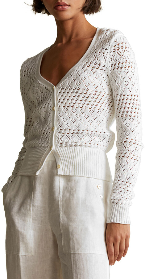 Thumbnail for your product : Polo Ralph Lauren V-Neck Textured Open-Weave Cardigan