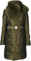 Versace belted high neck coat - women - Feather Down/Polyester/Goose Down - 42