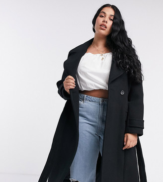 Forever New Curve long wrap coat in black