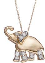 1/10 Carat T.W. Diamond 10k Gold Elephant Pendant Necklace