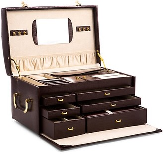 Bey-Berk Croc-Embossed Leather Jewelry Chest