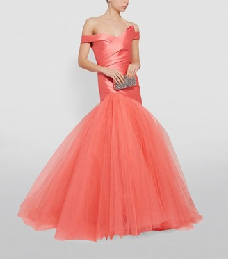 Monique Lhuillier Off-Shoulder Fishtail Gown