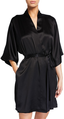 Christine Lingerie Solid Silk Short Robe