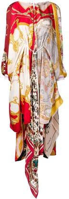 Marine Serre asymmetric printed scarf dress