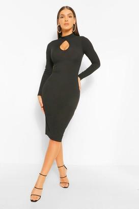 boohoo Cut Out High Neck Midi Dress