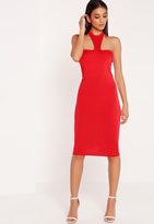 Missguided Jersey Halter Neck Bodycon Midi Dress Red