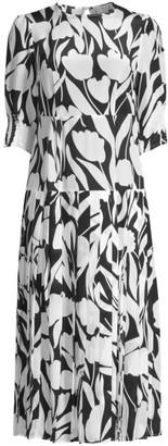Rixo Sheree Floral Silk Midi Dress
