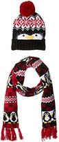 It's Our Time Women's Ugly Christmas Penguin Gift Set with Beanie and Scarf