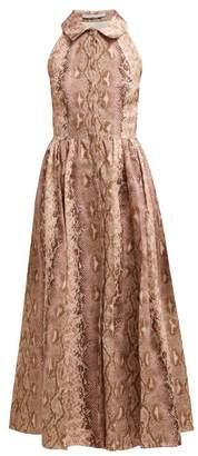 Emilia Wickstead Python-print Linen Midi Dress - Womens - Pink Print