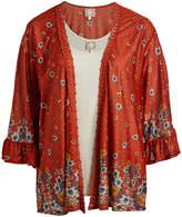 Rusty Tru Self Women's Kimono Cardigans Rust Floral Kimono & Cream Tank - Plus
