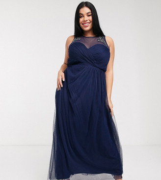 Little Mistress Plus pleat maxi dress with lace and embellishment detail in navy
