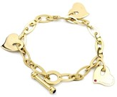 Roberto Coin 18K Yellow Gold Hearts Ruby Sapphire Toggle Bracelet