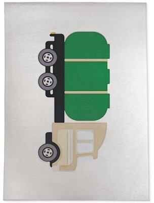 Zoomie Kids Lyndhur Truck Green Area Rug Rug Size: Rectangle 2' x 3'