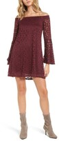 As U Wish Women's Lace Bell Sleeve Off The Shoulder Dress