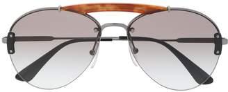 Prada tortoise-shell bridge aviator sunglasses