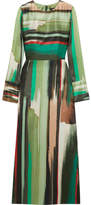 Goen J - Printed Silk-satin Maxi Dress - Green