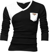 uxcell Allegra K Men Long Sleeve Contrast Color Pullover Casual T Shirts L