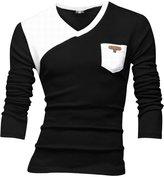 uxcell Allegra K Men V Neck Long Sleeve Contrast Color Pullover Pocket T-Shirts M