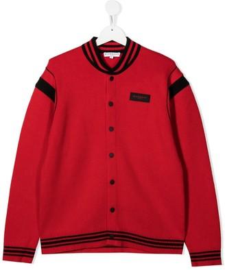 Givenchy Kids TEEN logo patch cardigan