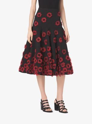 Michael Kors Poppy-Embroidered Cotton-Matelasse Skirt