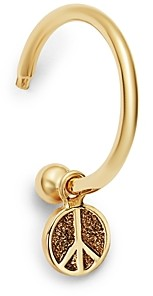 Zoë Chicco 14K Yellow Gold Tiny Peace Sign Charm Huggie Hoop Earring