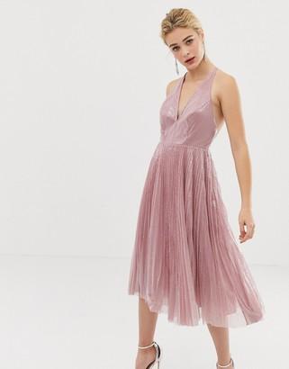 Asos Design DESIGN midi dress in pleated sequin-Beige
