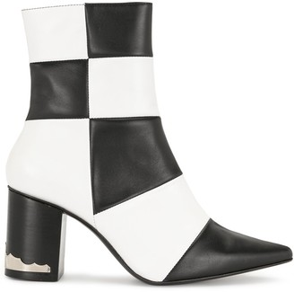 Toga Pulla Checkerboard Point-Toe Ankle Boots