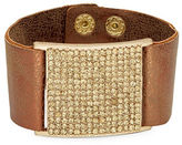 Dogeared Faux Leather and Crystal Pave Cuff