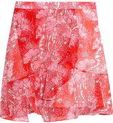 Carven Wrap-effect Floral-print Georgette Mini Skirt - Red