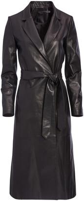 Karley Leather Flare Wrap Coat