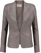 Halston Ribbed knit-paneled leather jacket