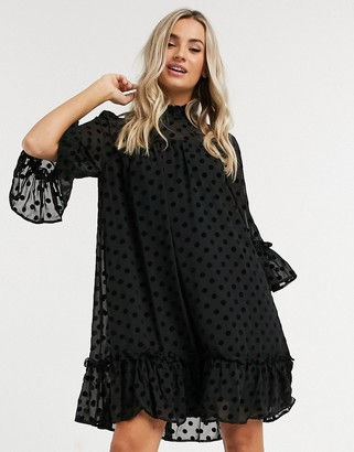 Pieces dobby mesh smock dress with high neck in black polka dot