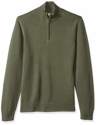 Goodthreads Soft Cotton Quarter Zip Sweater - Rouge (solid burgundy Bur) - Small