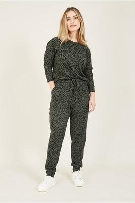 Yumi Khaki Animal Print Loungewear Joggers