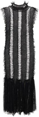 Sandra Mansour Ruched Fishnet Lace Midi Dress