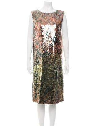 Halpern Scoop Neck Knee-Length Dress Gold