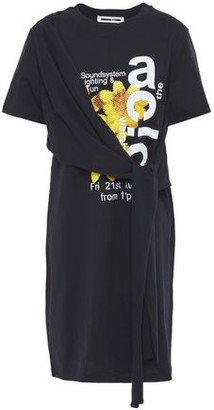 McQ Knotted Draped Printed Cotton-jersey Mini Dress