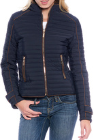 Navy Contrast-Trim Zip-Up Puffer Coat