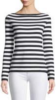 Michael Kors Long-Sleeve Striped Ribbed-Knit Tee