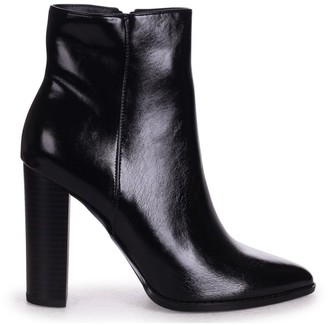 Linzi LUCY - Black Nappa Ankle Boot With Stacked Block Heel