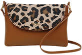 Tula Faux Leo Small Leather Cross Body Flap Bag, Natural