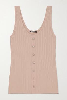 Balmain Button-embellished Ribbed Stretch-jersey Tank - Blush