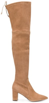 Stuart Weitzman Lesley pointed tie knee-high boots